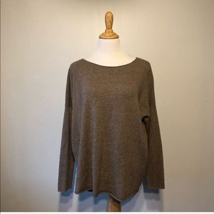 VINCE-Tan Wool & Cashmere Boat Neck Sweater- Small